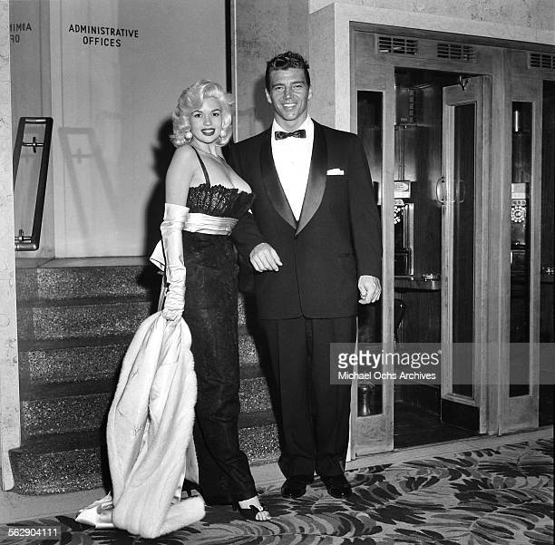 Actress Jayne Mansfield and Mickey Hargitay attend the Makeup Artist Ball in Los AngelesCalifornia