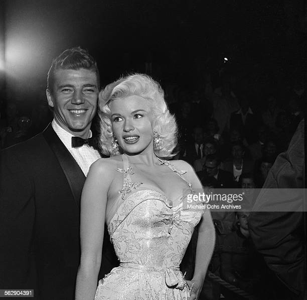 Actress Jayne Mansfield and Mickey Hargitay attend the premiere of 'Giant' in Los AngelesCalifornia