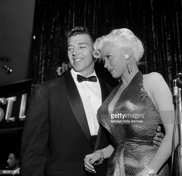 Actress Jayne Mansfield and Mickey Hargitay attend the premiere of 'Sprit of St Louis' in Los AngelesCalifornia