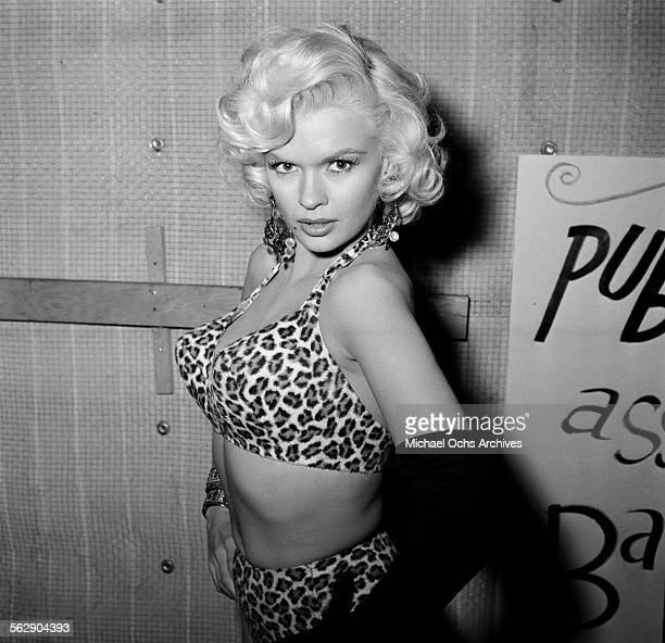 Actress Jayne Mansfield attends a Halloween party in Los AngelesCalifornia
