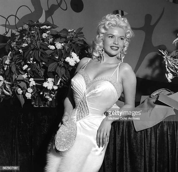 Actress Jayne Mansfield attends a party in Los AngelesCalifornia