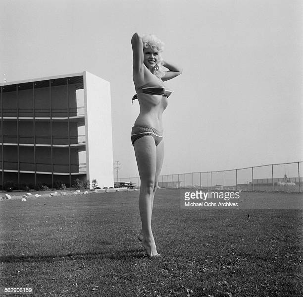 Actress Jayne Mansfield poses at Marineland in Los AngelesCalifornia