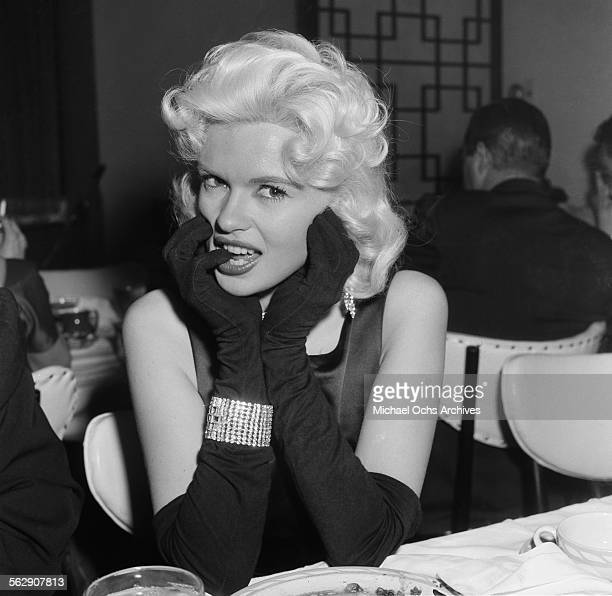 Actress Jayne Mansfield poses during a Liberace party in Los AngelesCalifornia