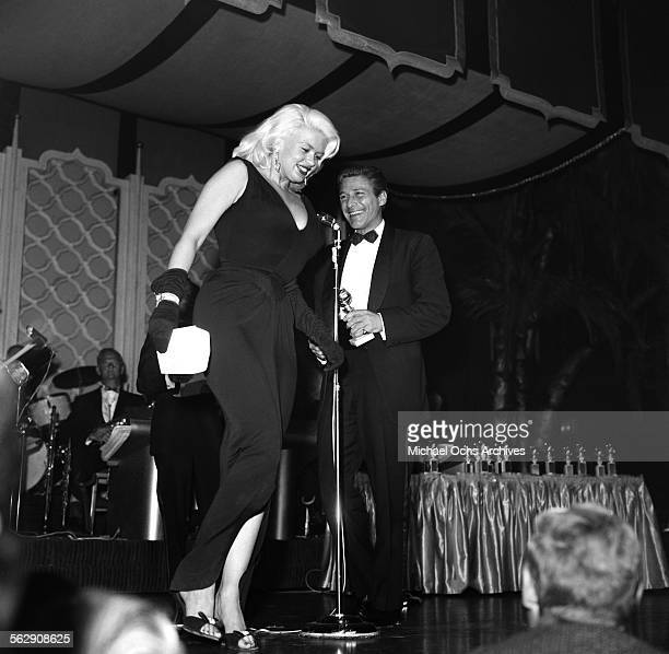Actress Jayne Mansfield presents at the Golden Globe Awards in Los AngelesCalifornia