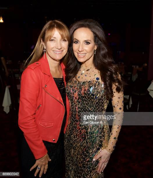 Actress Jayne Seymour and Jazz Artist Deborah Silver pose for a photo after Deborah Silver's performance at Catalina Jazz Club Bar Grill on March 28...