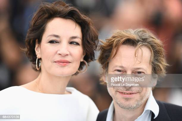 Actress Jeanne Balibar and actor Mathieu Amalric attend 'Barbara' Photocall during the 70th annual Cannes Film Festival at Palais des Festivals on...