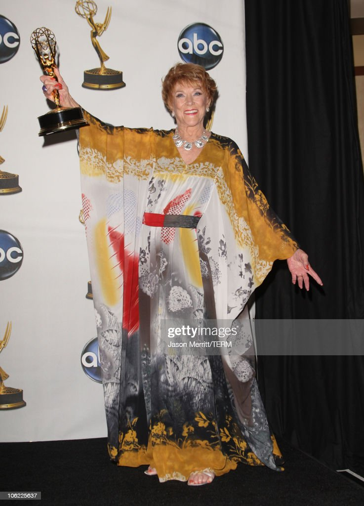 Actress <a gi-track='captionPersonalityLinkClicked' href=/galleries/search?phrase=Jeanne+Cooper&family=editorial&specificpeople=208646 ng-click='$event.stopPropagation()'>Jeanne Cooper</a> in the press room at The 35th Annual Daytime Emmy Awards at the Kodak Theatre on June 20, 2008 in Los Angeles, California.