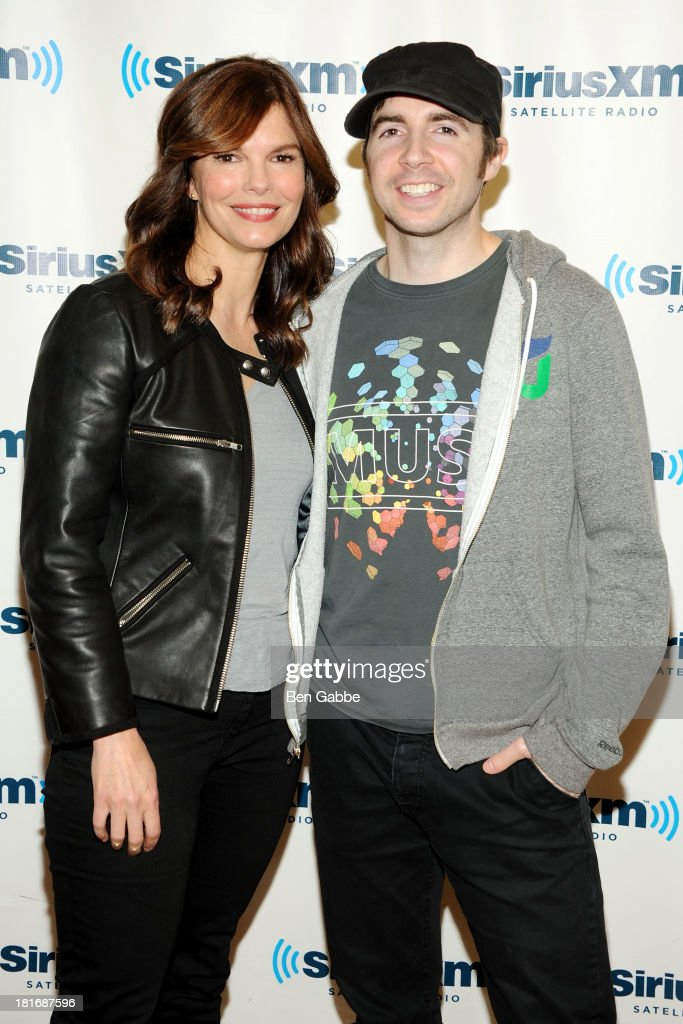 Actress <a gi-track='captionPersonalityLinkClicked' href=/galleries/search?phrase=Jeanne+Tripplehorn&family=editorial&specificpeople=584225 ng-click='$event.stopPropagation()'>Jeanne Tripplehorn</a> (L) and Raw Dog host Mark Says Hi visit SiriusXM Studios on September 23, 2013 in New York City.