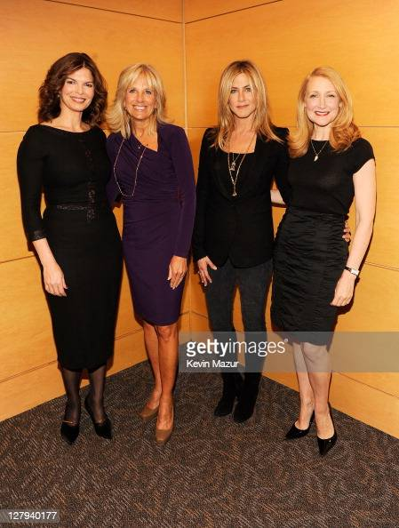 Actress Jeanne Tripplehorn Dr Jill Biden Executive Producer and Director Jennifer Aniston and actress Patricia Clarkson attend the red carpet...