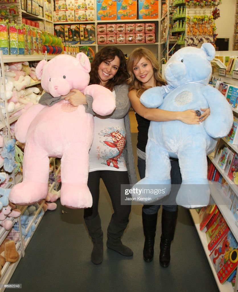 Actress Jecssica Leccia and actress Marcy Rylan shop at Buy Buy Baby on April 20, 2009 in New York City.