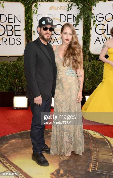 Actress Jemima Kirke and husband Michael Mosberg attend the 71st Annual Golden Globe Awards held at The Beverly Hilton Hotel on January 12 2014 in...