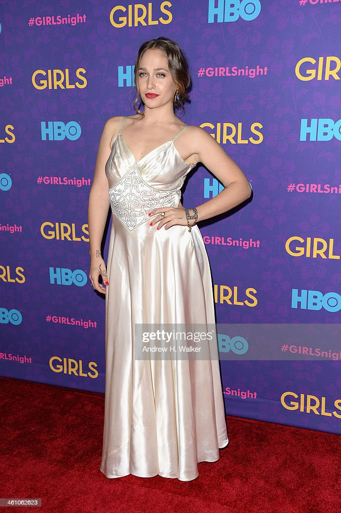 Actress <a gi-track='captionPersonalityLinkClicked' href=/galleries/search?phrase=Jemima+Kirke&family=editorial&specificpeople=7327464 ng-click='$event.stopPropagation()'>Jemima Kirke</a> attends the 'Girls' season three premiere at Jazz at Lincoln Center on January 6, 2014 in New York City.