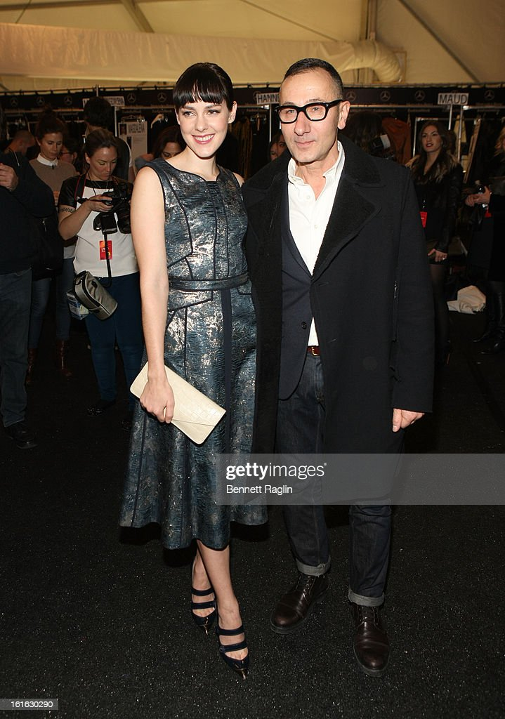 Actress <a gi-track='captionPersonalityLinkClicked' href=/galleries/search?phrase=Jena+Malone&family=editorial&specificpeople=216548 ng-click='$event.stopPropagation()'>Jena Malone</a> and designer Gilles Malone attends J. Mendel during Fall 2013 Mercedes-Benz Fashion Week at The Theatre at Lincoln Center on February 13, 2013 in New York City.