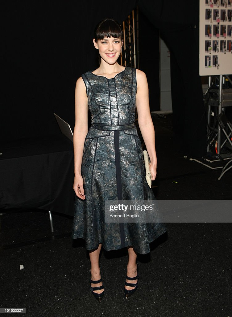 Actress <a gi-track='captionPersonalityLinkClicked' href=/galleries/search?phrase=Jena+Malone&family=editorial&specificpeople=216548 ng-click='$event.stopPropagation()'>Jena Malone</a> attends J. Mendel during Fall 2013 Mercedes-Benz Fashion Week at The Theatre at Lincoln Center on February 13, 2013 in New York City.