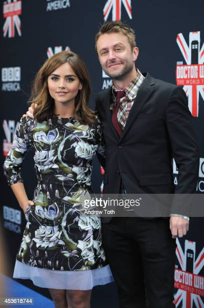 Actress Jenna Coleman and host Chris Hardick attend BBC America's 'Doctor Who' Premiere Fan Screening at Ziegfeld Theater on August 14 2014 in New...