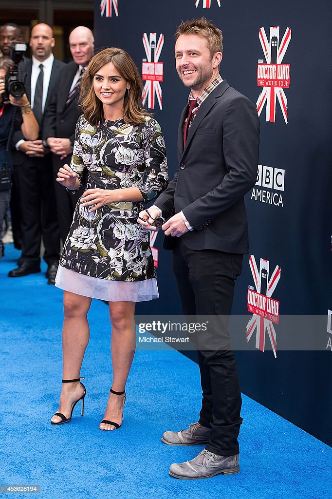 Actress Jenna Coleman (L) and tv personality <a gi-track='captionPersonalityLinkClicked' href=/galleries/search?phrase=Chris+Hardwick&family=editorial&specificpeople=960855 ng-click='$event.stopPropagation()'>Chris Hardwick</a> attend BBC America's 'Doctor Who' Premiere Fan Screening at Ziegfeld Theater on August 14, 2014 in New York City.