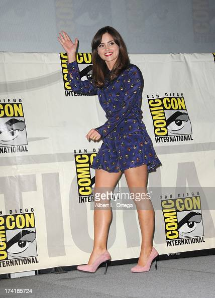 Actress Jenna Coleman speaks onstage at BBC America's 'Doctor Who' 50th Anniversary panel during ComicCon International 2013 at San Diego Convention...