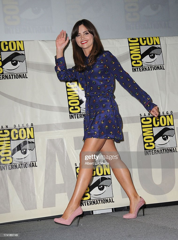 Actress Jenna Coleman speaks onstage at BBC America's 'Doctor Who' 50th Anniversary panel during Comic-Con International 2013 at San Diego Convention Center on July 21, 2013 in San Diego, California.