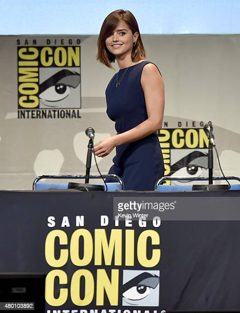 Actress Jenna Coleman walks onstage during BBC America's official panel for 'Doctor Who' during ComicCon International 2015 at San Diego Convention...