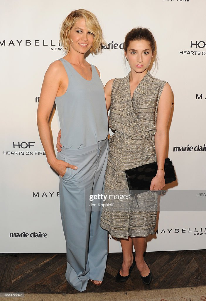 Actress <a gi-track='captionPersonalityLinkClicked' href=/galleries/search?phrase=Jenna+Elfman&family=editorial&specificpeople=204782 ng-click='$event.stopPropagation()'>Jenna Elfman</a> and actress Ava Deluca-Verley arrive at Marie Claire's Fresh Faces Party at Soho House on April 8, 2014 in West Hollywood, California.