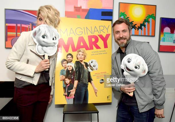 Actress Jenna Elfman and Executive Producer Patrick Osborne attend the Los Angeles Lakers game to celebrate the series premiere of ABC's 'Imaginary...