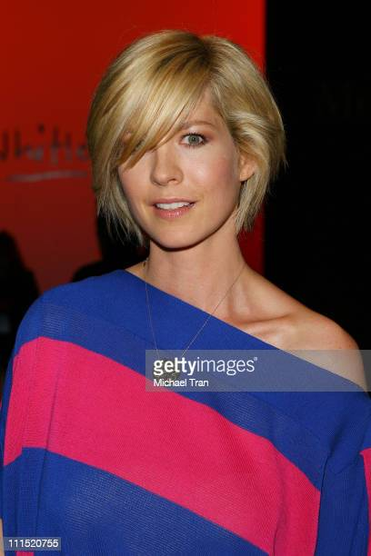 Actress Jenna Elfman front row at Whitley Kros Fall 2008 collection during Mercedes Benz LA Fashion Week held at Smashbox Studios on March 9 2008 in...