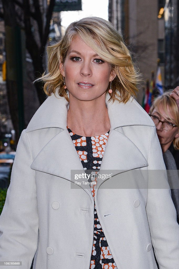 Actress <a gi-track='captionPersonalityLinkClicked' href=/galleries/search?phrase=Jenna+Elfman&family=editorial&specificpeople=204782 ng-click='$event.stopPropagation()'>Jenna Elfman</a> leaves the 'Today Show' taping at the NBC Rockefeller Center Studios on January 10, 2013 in New York City.
