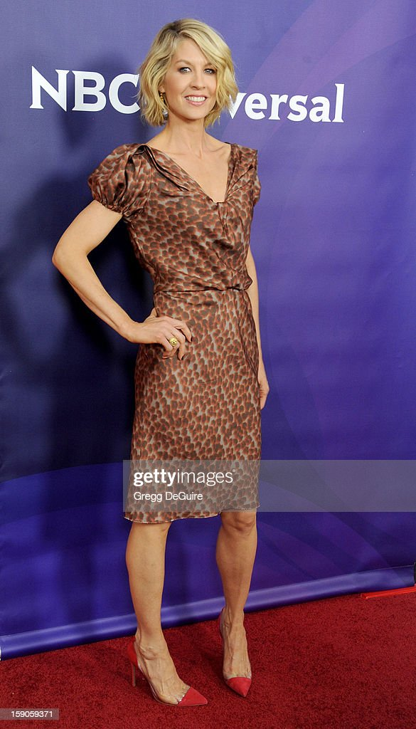 Actress Jenna Elfman poses at the 2013 NBC Universal TCA Winter Press Tour Day 1 at The Langham Huntington Hotel and Spa on January 6, 2013 in Pasadena, California.