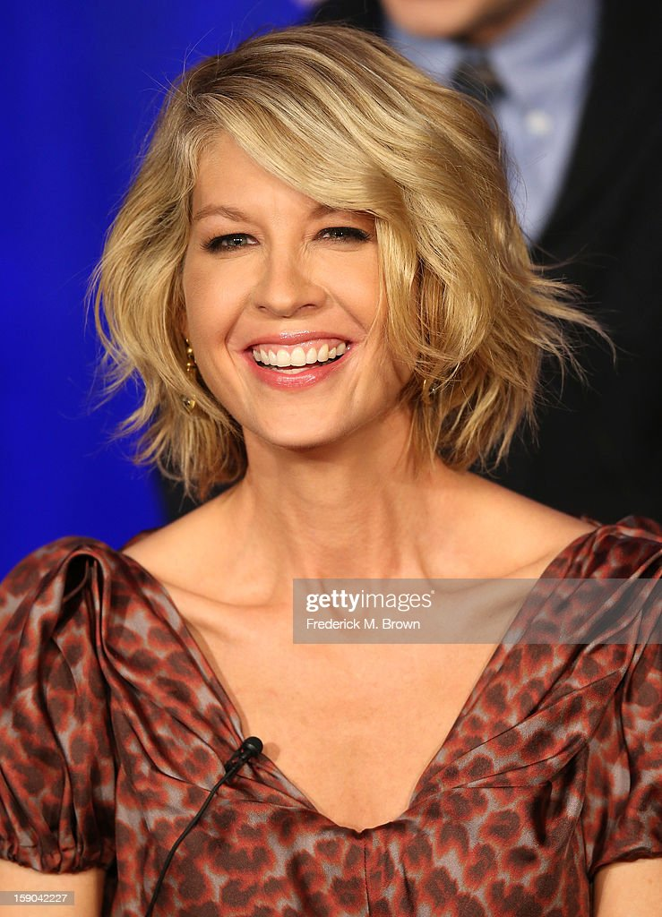 Actress Jenna Elfman speaks onstage at the '1600 Penn' panel session during the NBCUniversal portion of the 2013 Winter TCA Tour- Day 3 at the Langham Hotel on January 6, 2013 in Pasadena, California.