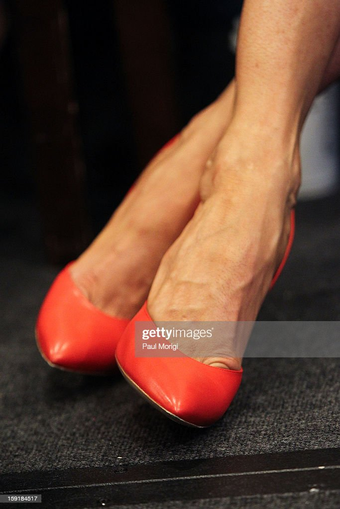 Actress <a gi-track='captionPersonalityLinkClicked' href=/galleries/search?phrase=Jenna+Elfman&family=editorial&specificpeople=204782 ng-click='$event.stopPropagation()'>Jenna Elfman</a>'s shoes at the cast of '1600 Penn' discussion at The National Press Club on January 9, 2013 in Washington, DC.