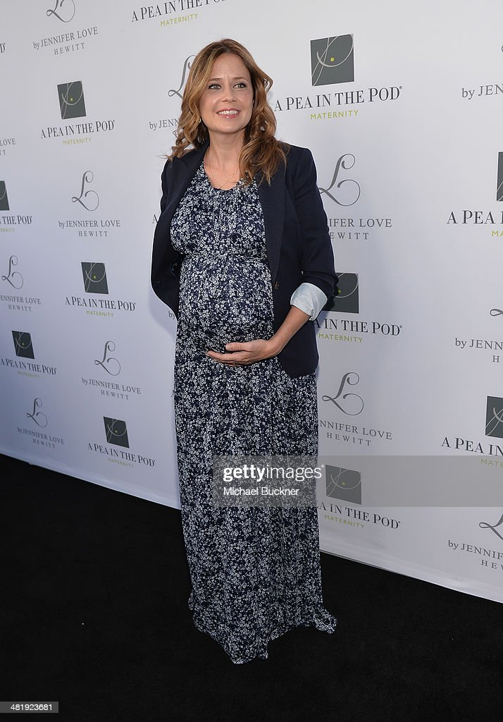 Actress <a gi-track='captionPersonalityLinkClicked' href=/galleries/search?phrase=Jenna+Fischer&family=editorial&specificpeople=274744 ng-click='$event.stopPropagation()'>Jenna Fischer</a> arrives at the Launches of Jennifer Love Hewitt's new maternity line, 'L by Jennifer Love Hewitt' at A Pea In The Pod on April 1, 2014 in Beverly Hills, California.