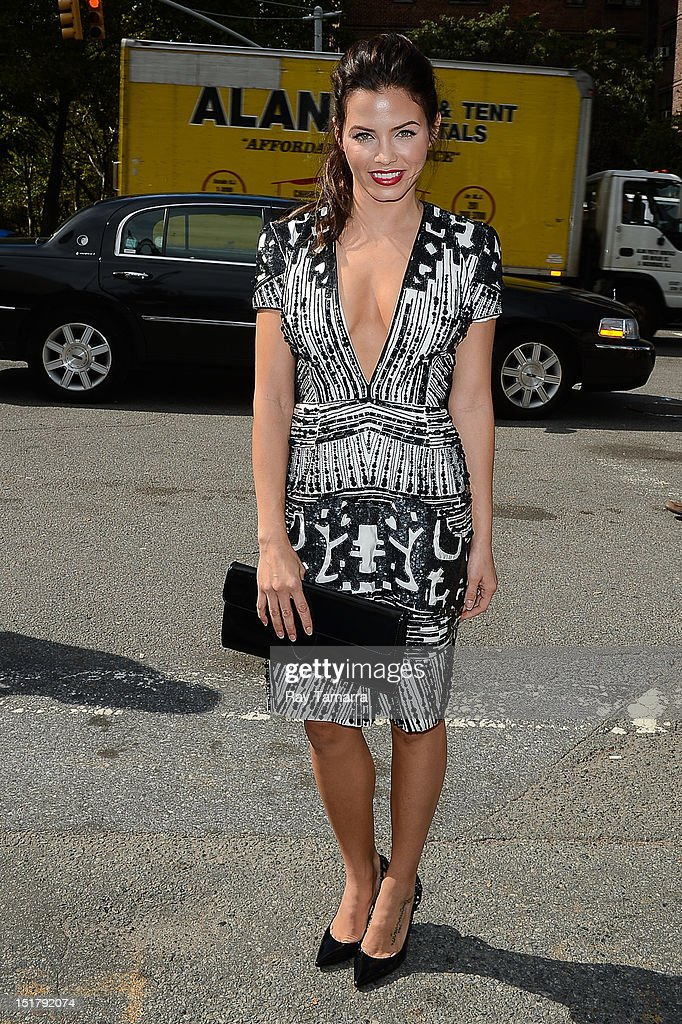 Actress Jenna Lee Dewan-Tatum leaves the Mercedes-Benz Fashion Week at Lincoln Center on September 11, 2012 in New York City.