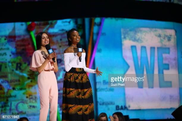 Actress Jenna Ortega and actress and social activist Skai Jackson inspire 15000 students and educators at WE Day Seattle at the KeyArena at the...
