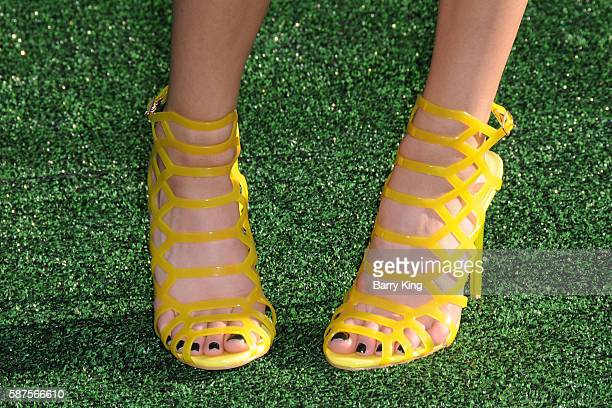 Actress Jenna Ortega shoe detail attends the World Premiere of Disney's 'Pete's Dragon' at the El Capitan Theatre on August 8 2016 in Hollywood...