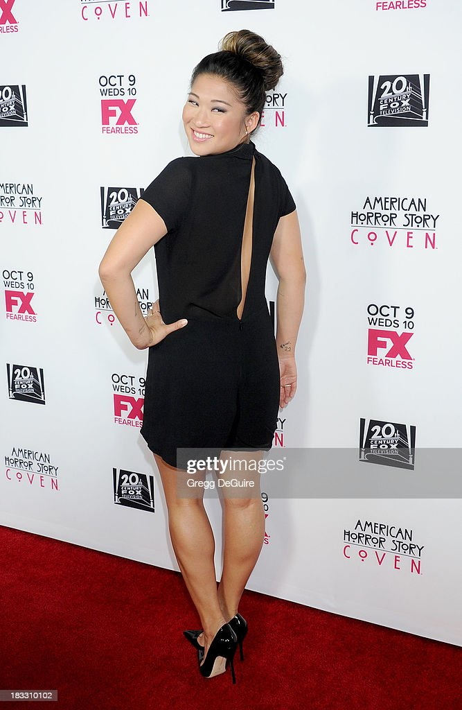 Actress <a gi-track='captionPersonalityLinkClicked' href=/galleries/search?phrase=Jenna+Ushkowitz&family=editorial&specificpeople=4863323 ng-click='$event.stopPropagation()'>Jenna Ushkowitz</a> arrives at the Los Angeles premiere of FX's 'American Horror Story: Coven' at Pacific Design Center on October 5, 2013 in West Hollywood, California.