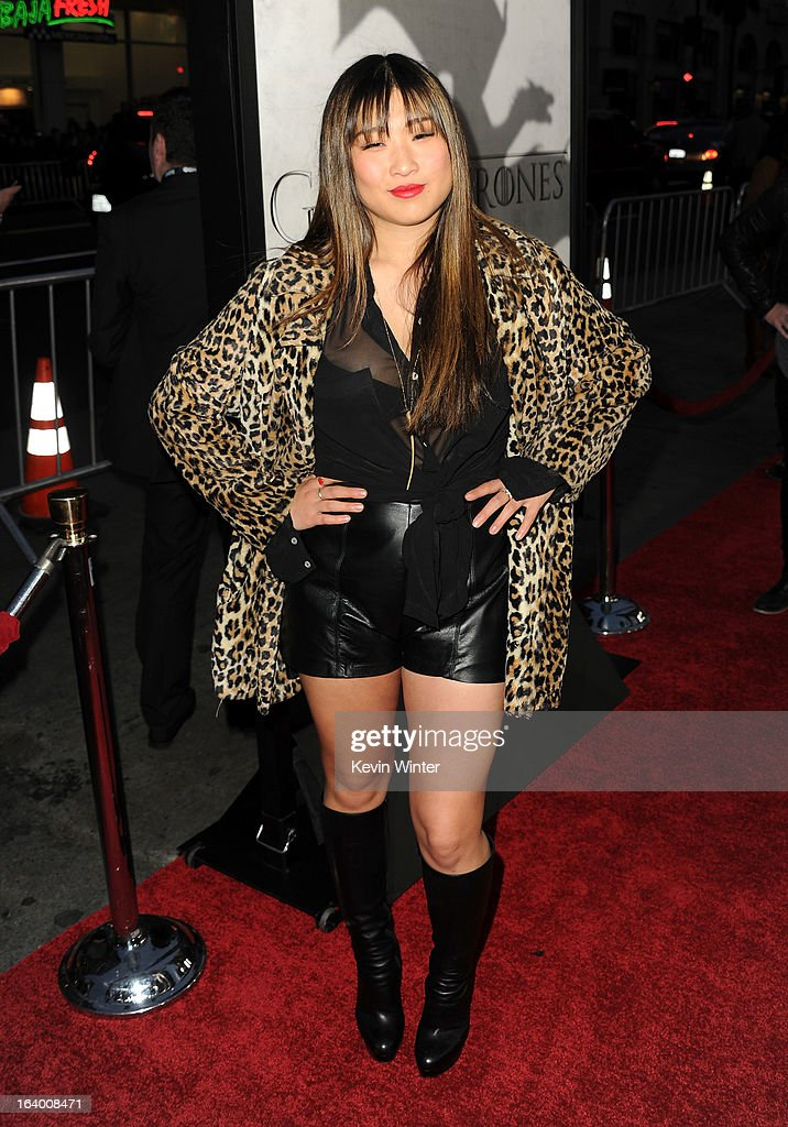 Actress Jenna Ushkowitz arrives at the premiere of HBO's 'Game Of Thrones' Season 3 at TCL Chinese Theatre on March 18, 2013 in Hollywood, California.
