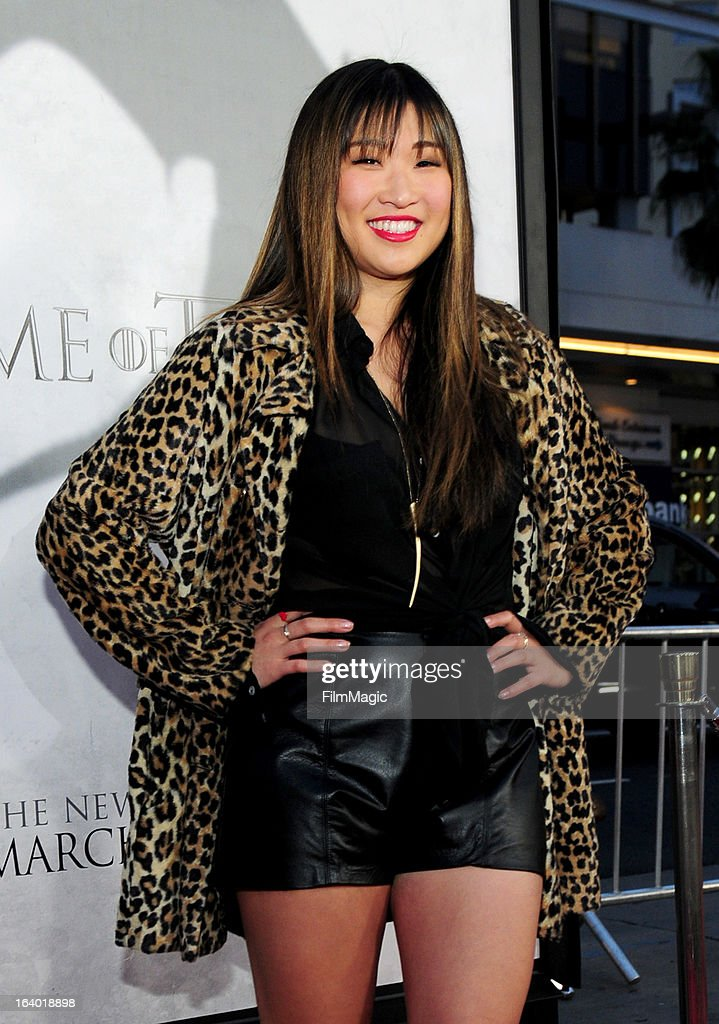 Actress Jenna Ushkowitz attends 'Game Of Thrones' Los Angeles premiere presented by HBO at TCL Chinese Theatre on March 18, 2013 in Hollywood, California.