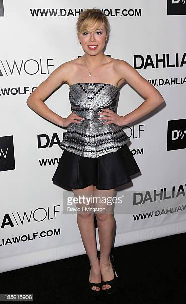Actress Jennette McCurdy attends the Dahlia Wolf Launch Party at the Graffiti Cafe on October 22 2013 in Los Angeles California