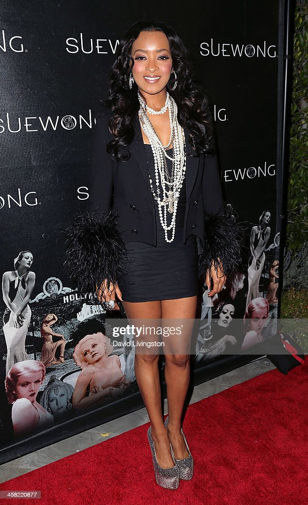 Actress Jennia Fredrique attends Sue Wong's holiday party at her home on December 20, 2013 in Los Angeles, California.