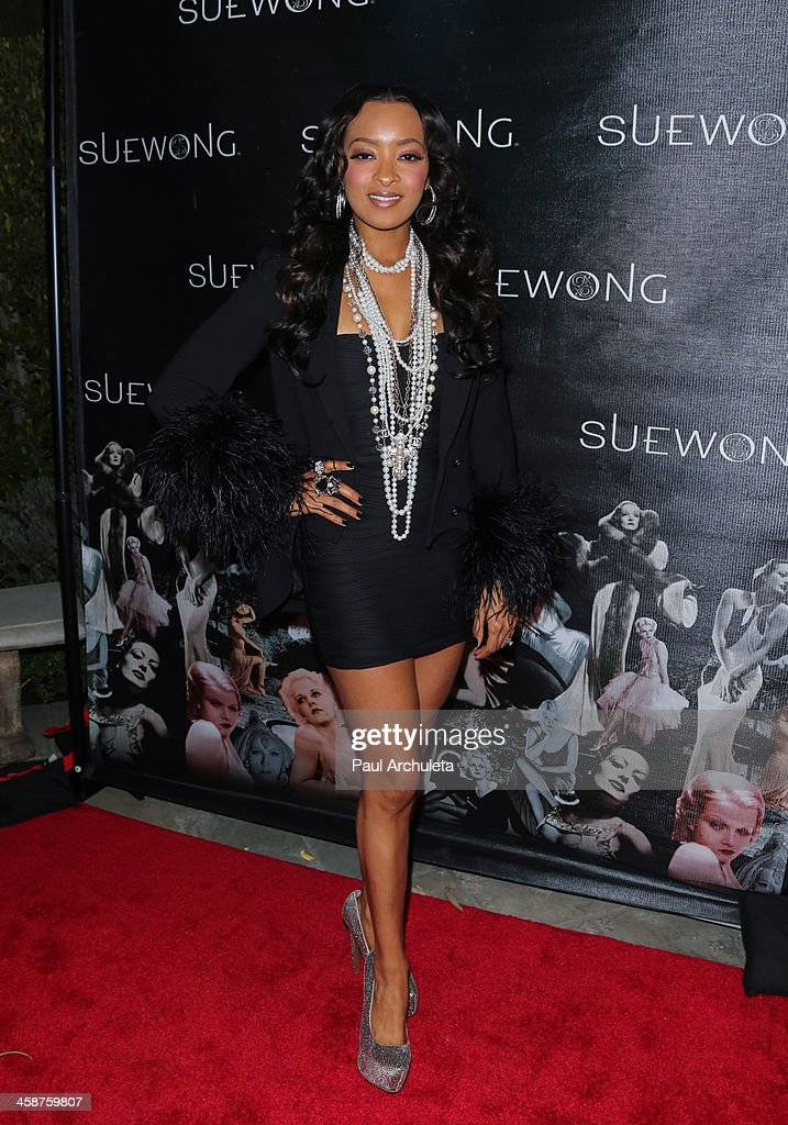 Actress <a gi-track='captionPersonalityLinkClicked' href=/galleries/search?phrase=Jennia+Fredrique&family=editorial&specificpeople=5578088 ng-click='$event.stopPropagation()'>Jennia Fredrique</a> attends Sue Wong's holiday party on December 20, 2013 in Los Angeles, California.