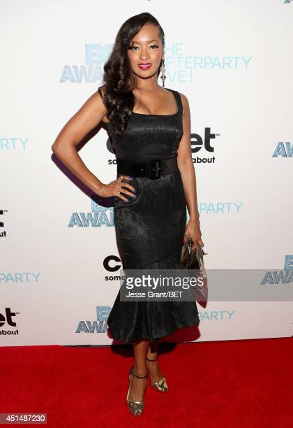 Actress Jennia Fredrique attends the BET AWARDS '14 post show at Nokia Theatre LA LIVE on June 29 2014 in Los Angeles California