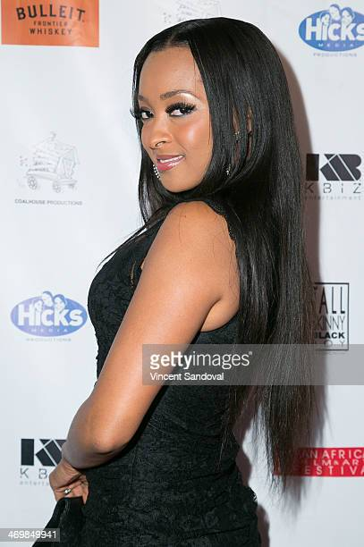 Actress Jennia Fredrique attends the Pan African Film Arts Festival closing night premiere of 'Blackbird' at Rave Cinemas on February 16 2014 in Los...