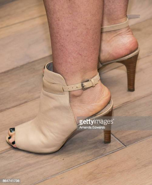 Actress Jennie Garth shoe detail launches her MomGiftBox at Papyrus on October 21 2017 in Los Angeles California