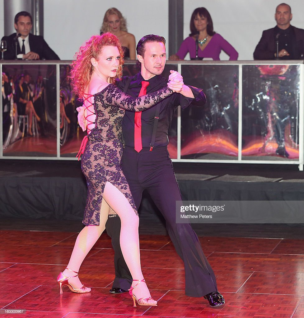 Actress Jennie McAlpine performs a ballroom dancing routine as part of Dancing with United, in aid of the Manchester United Foundation, at Old Trafford on March 7, 2013 in Manchester, England.
