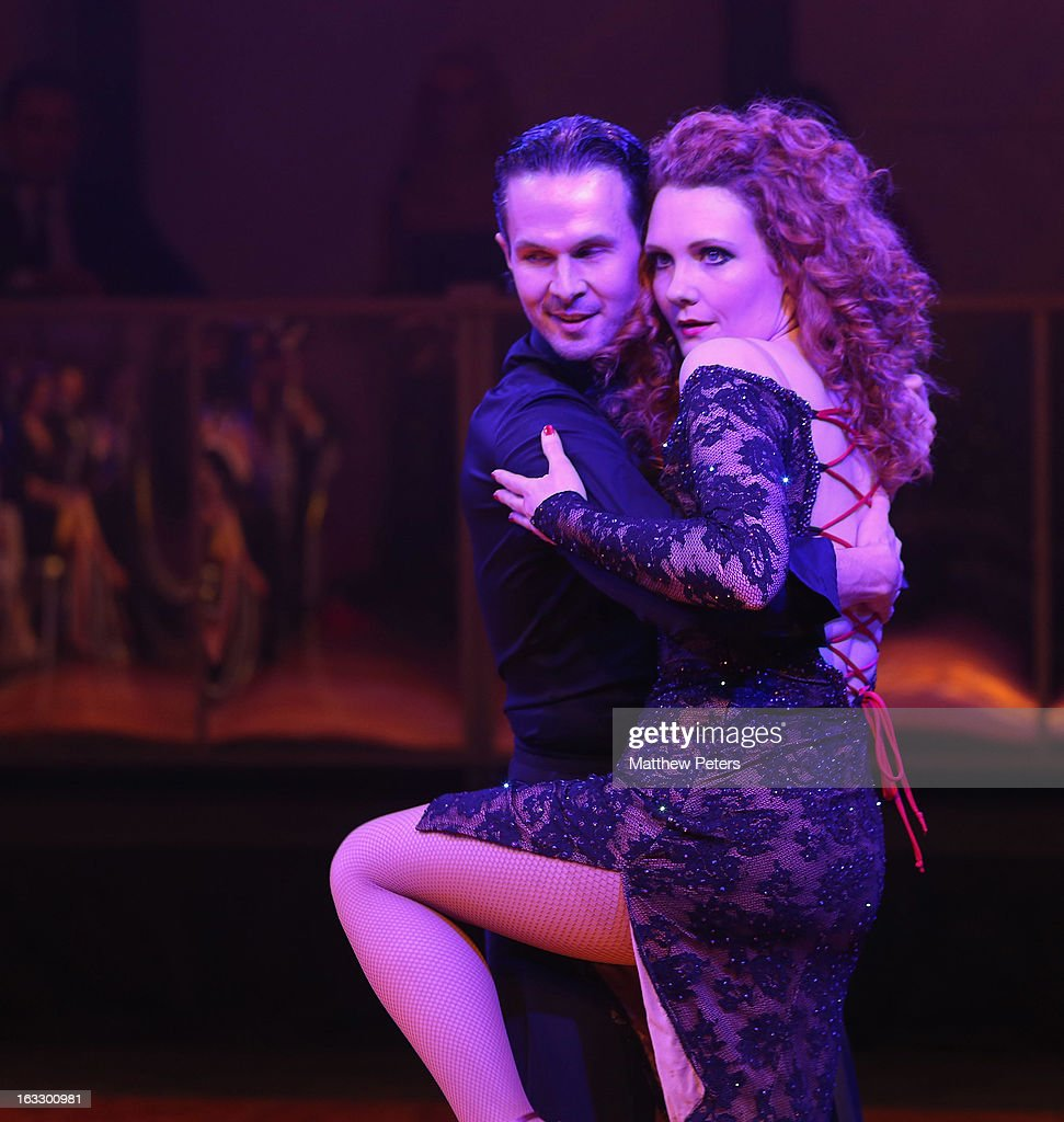 Actress <a gi-track='captionPersonalityLinkClicked' href=/galleries/search?phrase=Jennie+McAlpine&family=editorial&specificpeople=626603 ng-click='$event.stopPropagation()'>Jennie McAlpine</a> performs a ballroom dancing routine as part of Dancing with United, in aid of the Manchester United Foundation, at Old Trafford on March 7, 2013 in Manchester, England.