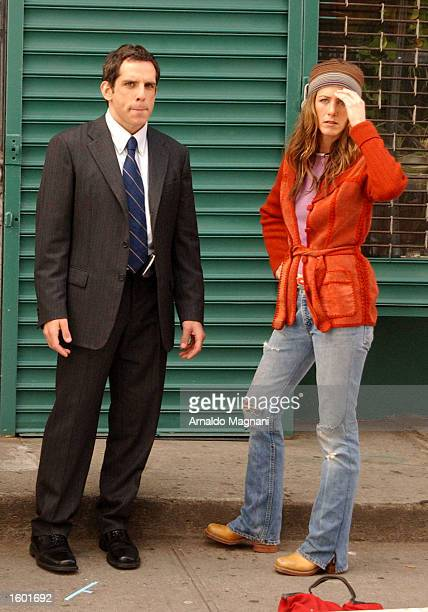 Actress Jennifer Aniston and actor Ben Stiller stand next to each other as they appear on the comedy set of a new unnamed movie November 10 2002 in...