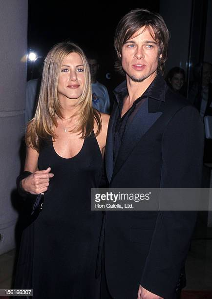 Actress Jennifer Aniston and actor Brad Pitt attend the 28th Annual American Film Institute Lifetime Achievement Award Salute to Harrison Ford on...