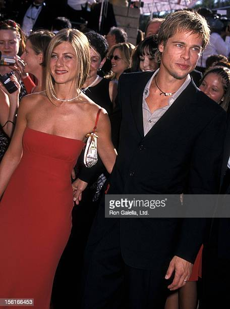 Actress Jennifer Aniston and actor Brad Pitt attend the 52nd Annual Primetime Emmy Awards on September 10 2000 at Shrine Auditorium in Los Angeles...