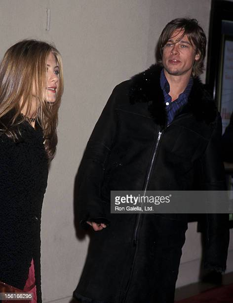 Actress Jennifer Aniston and actor Brad Pitt attend the 'Hanging Up' Westwood Premiere on February 16 2000 at Mann Bruin Theatre in Westwood...