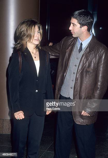 Actress Jennifer Aniston and actor David Schwimmer attend the 'Before Sunrise' West Hollywood Premiere on January 26 1995 at the DGA Theatre in West...